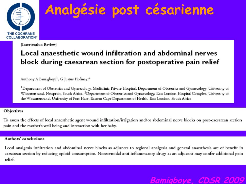 Analgésie post césarienne