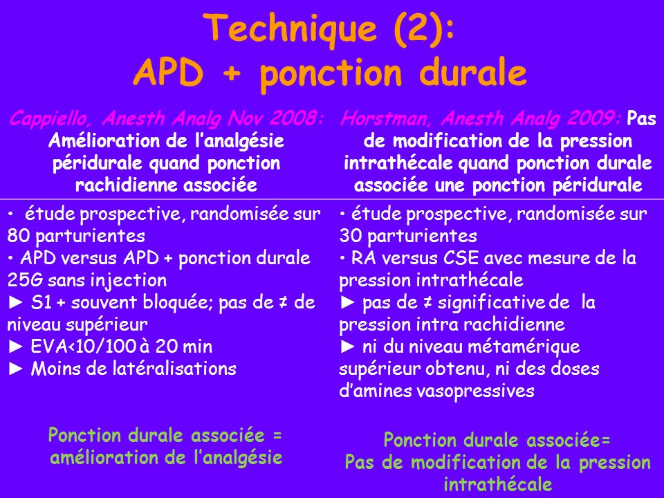 Technique (2): APD + ponction durale