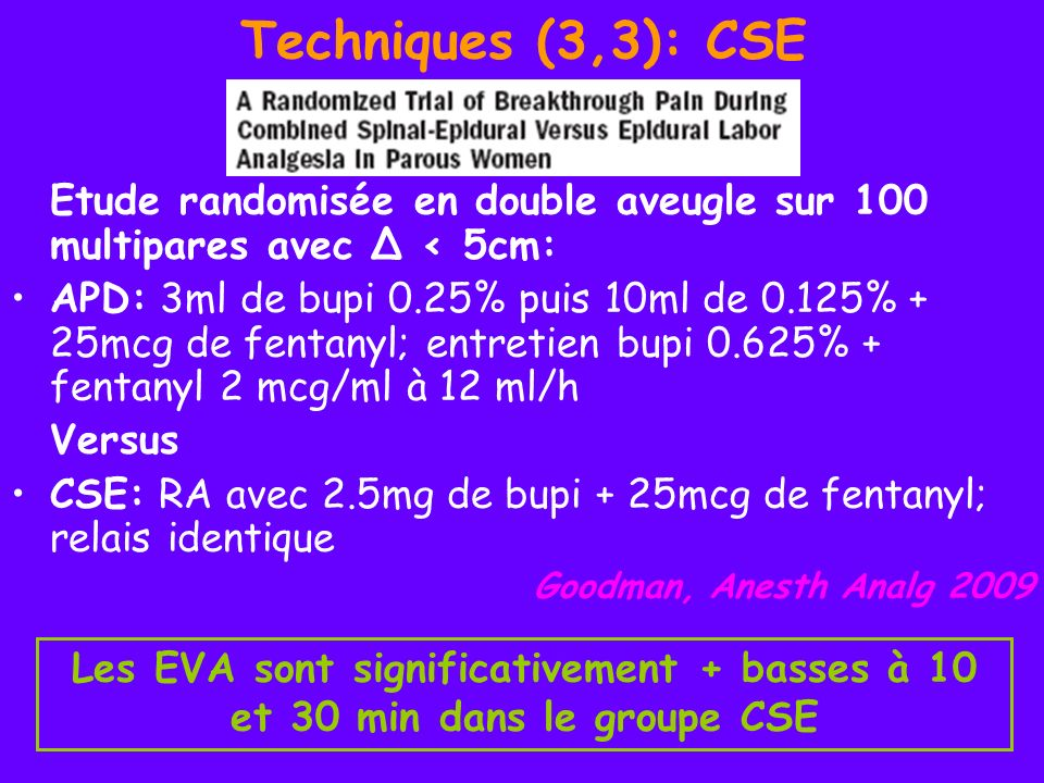 Techniques (3,3): CSEEtude randomisée en double aveugle sur 100 multipares avec Δ < 5cm: