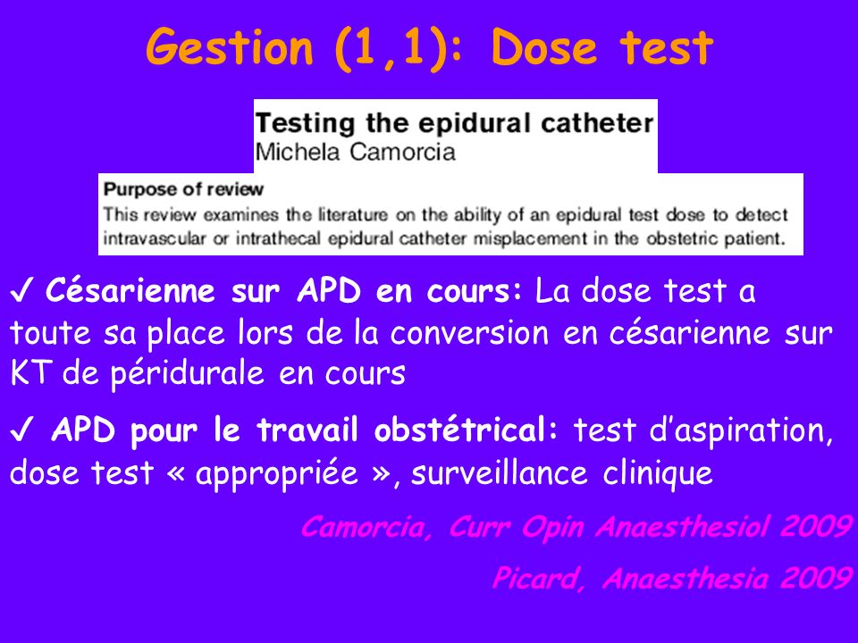 Gestion (1,1): Dose test