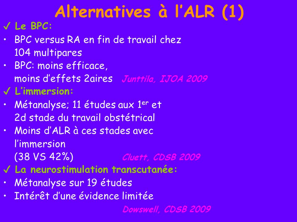 Alternatives à l'ALR (1)