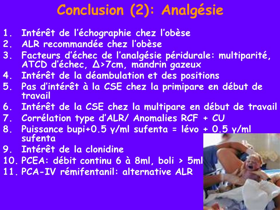 Conclusion (2): Analgésie