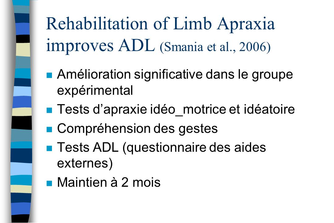 Rehabilitation of Limb Apraxia improves ADL (Smania et al., 2006)