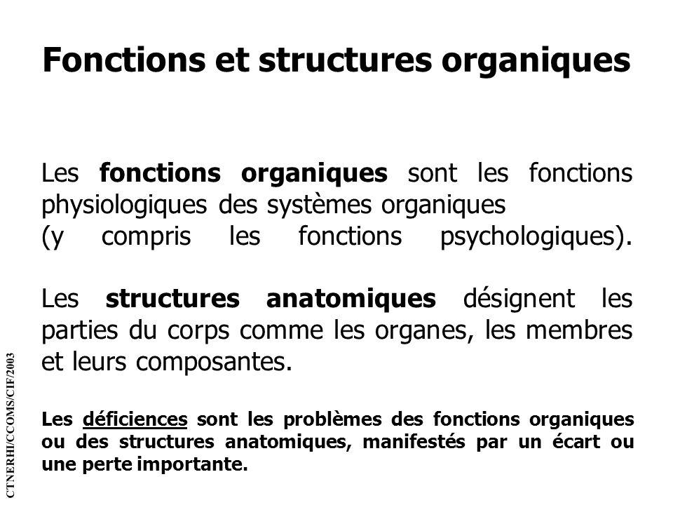 Fonctions et structures organiques