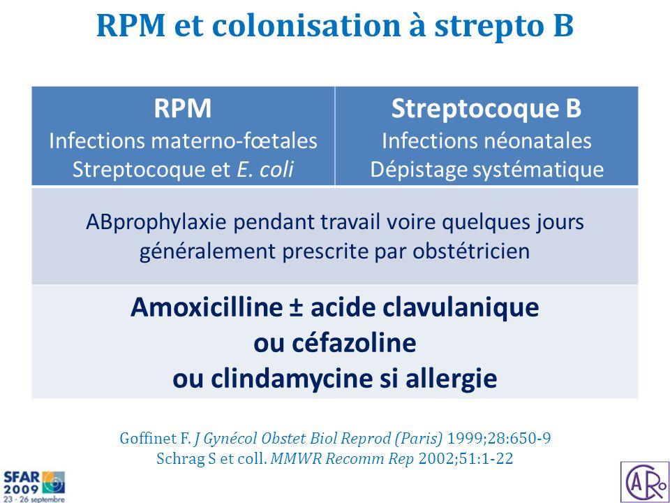 RPM et colonisation à strepto B