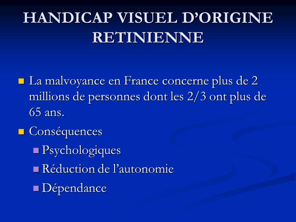 HANDICAP VISUEL D'ORIGINE RETINIENNE