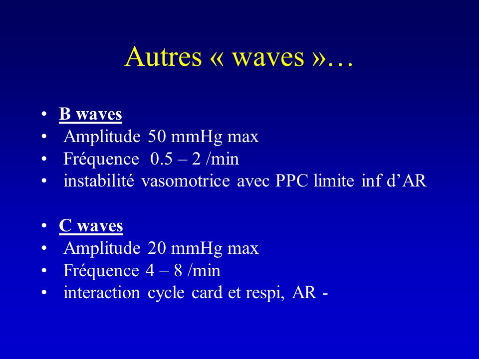 Autres « waves »… B waves Amplitude 50 mmHg max Fréquence 0.5 – 2 /min