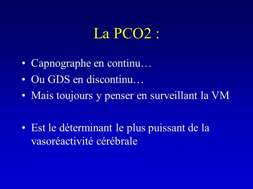 La PCO2 : Capnographe en continu… Ou GDS en discontinu…