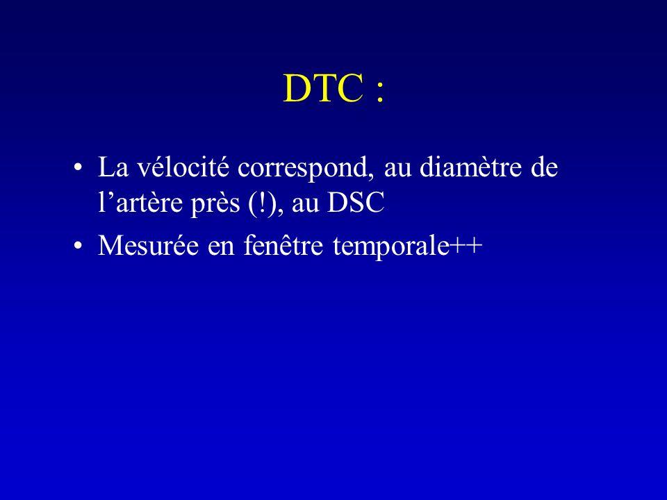 DTC : La vélocité correspond, au diamètre de l'artère près (!), au DSC