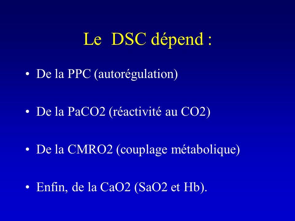 Le DSC dépend : De la PPC (autorégulation)