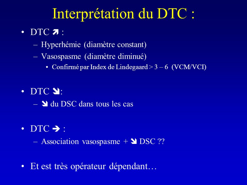 Interprétation du DTC :