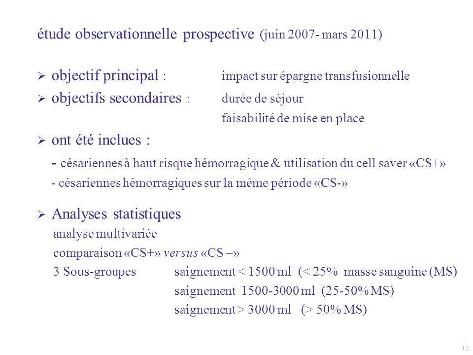 étude observationnelle prospective (juin 2007- mars 2011)