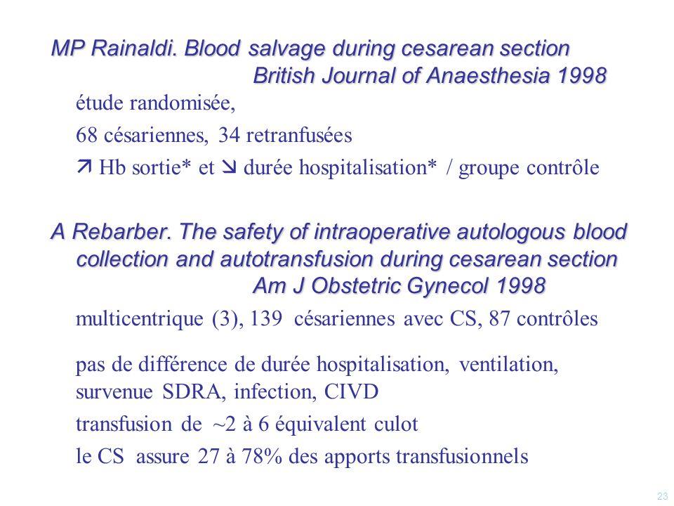 68 césariennes, 34 retranfusées