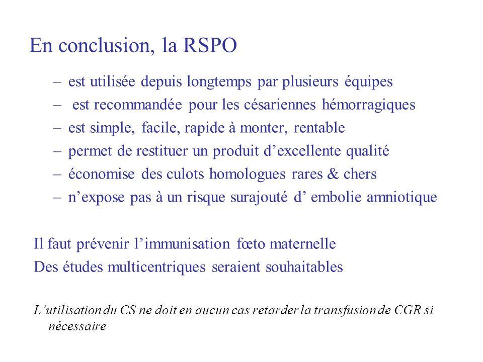 En conclusion, la RSPO est utilisée depuis longtemps par plusieurs équipes. est recommandée pour les césariennes hémorragiques.