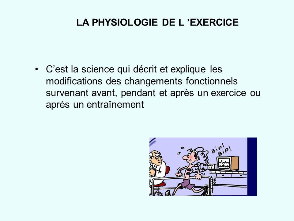 LA PHYSIOLOGIE DE L 'EXERCICE