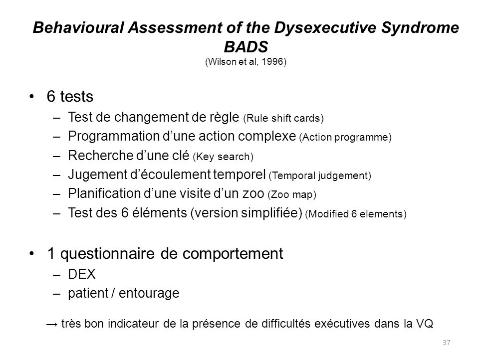 Behavioural Assessment of the Dysexecutive Syndrome