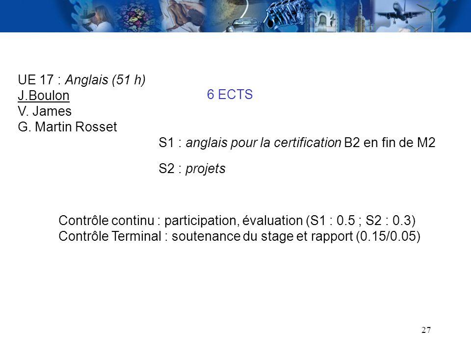 UE 17 : Anglais (51 h) J.Boulon. V. James. G. Martin Rosset. 6 ECTS. S1 : anglais pour la certification B2 en fin de M2.