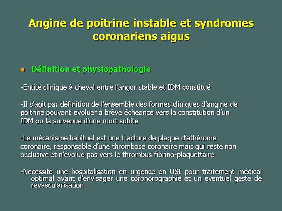 Angine de poitrine instable et syndromes coronariens aigus