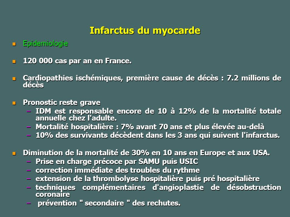 Infarctus du myocarde Epidemiologie 120 000 cas par an en France.