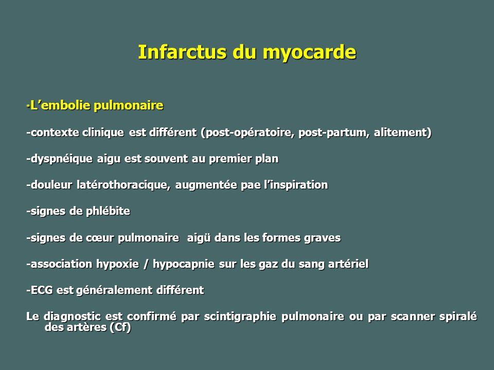 Infarctus du myocarde *L'embolie pulmonaire. -contexte clinique est différent (post-opératoire, post-partum, alitement)