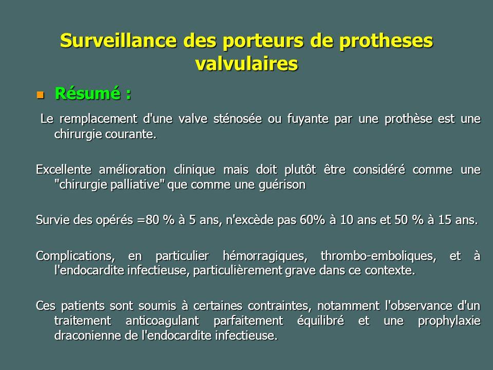Surveillance des porteurs de protheses valvulaires