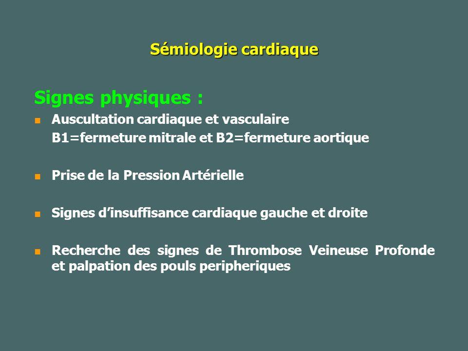 Signes physiques : Sémiologie cardiaque