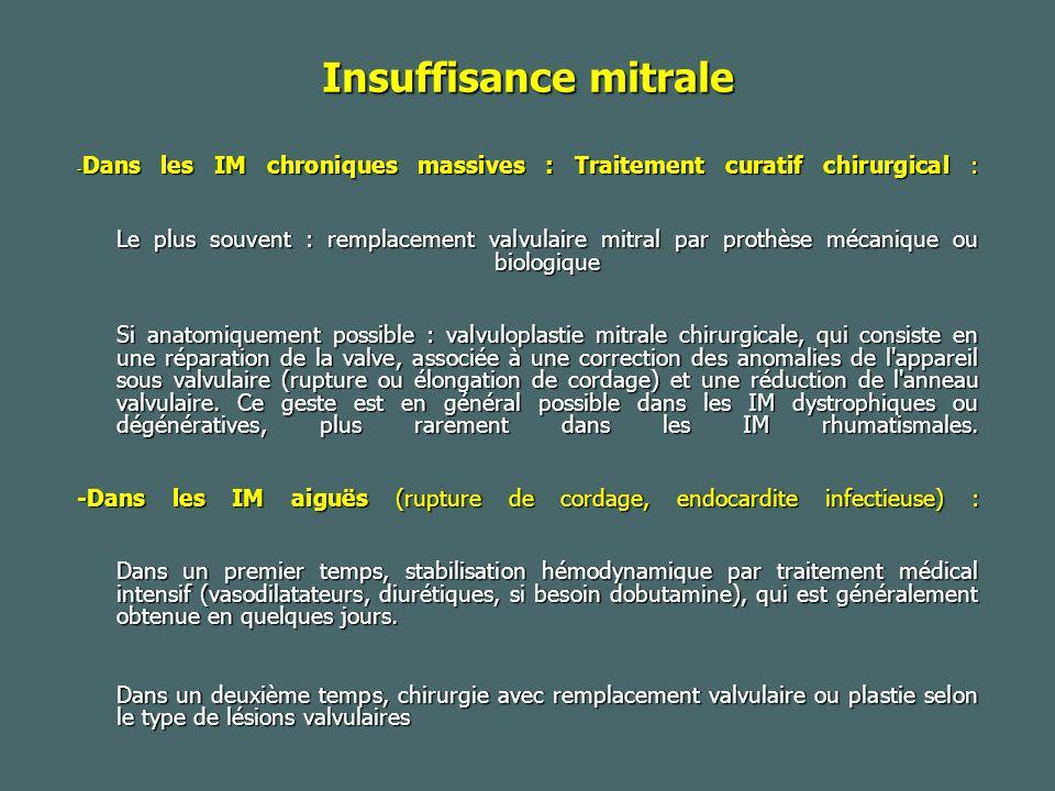Insuffisance mitrale -Dans les IM chroniques massives : Traitement curatif chirurgical :