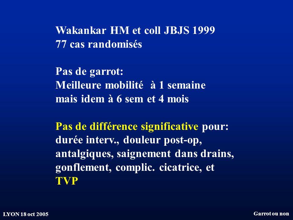 Wakankar HM et coll JBJS 1999 77 cas randomisés Pas de garrot:
