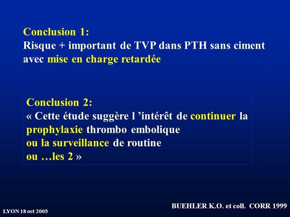 Risque + important de TVP dans PTH sans ciment