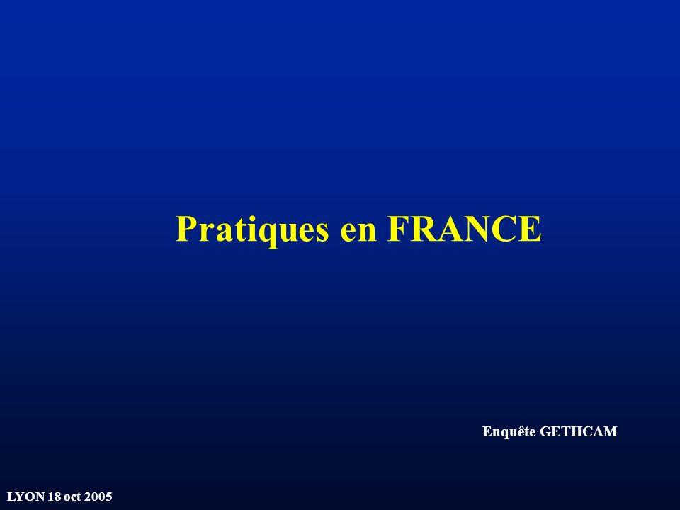Pratiques en FRANCE Enquête GETHCAM