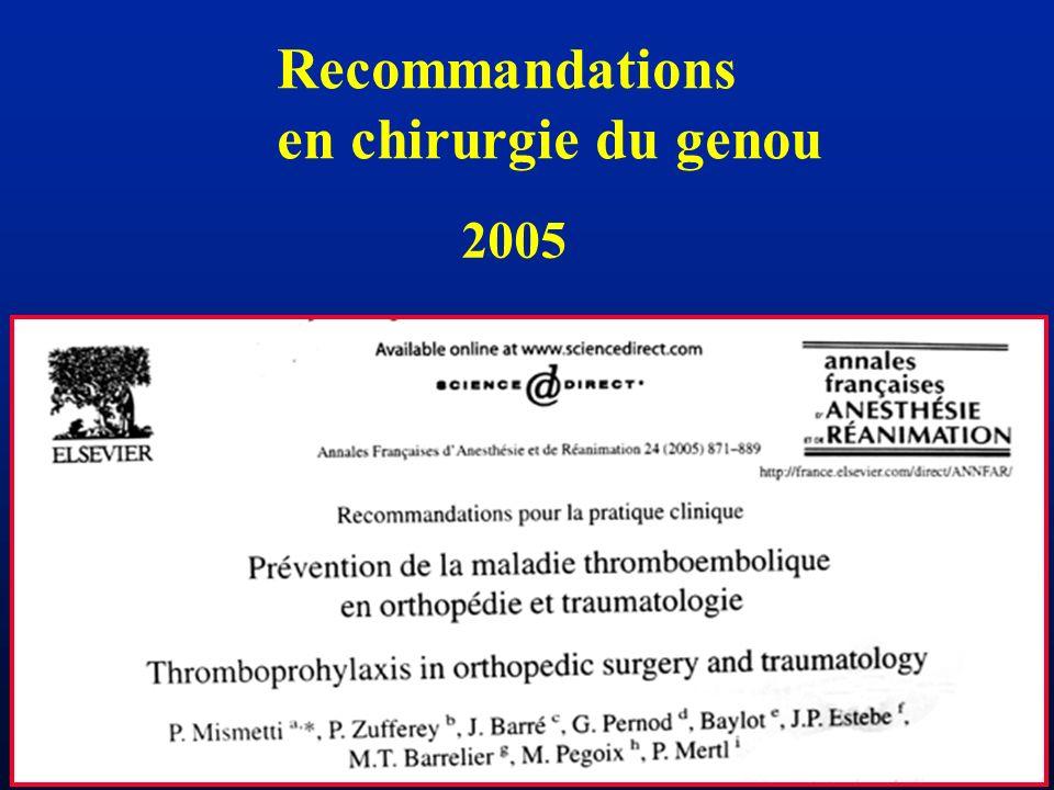 Recommandations en chirurgie du genou 2005