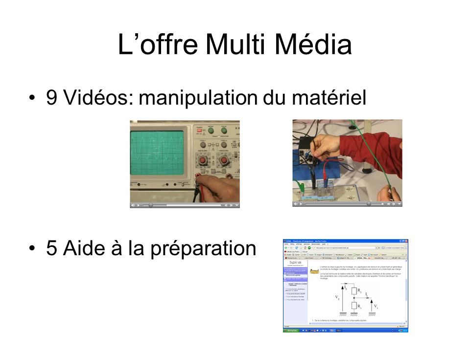 L'offre Multi Média 9 Vidéos: manipulation du matériel