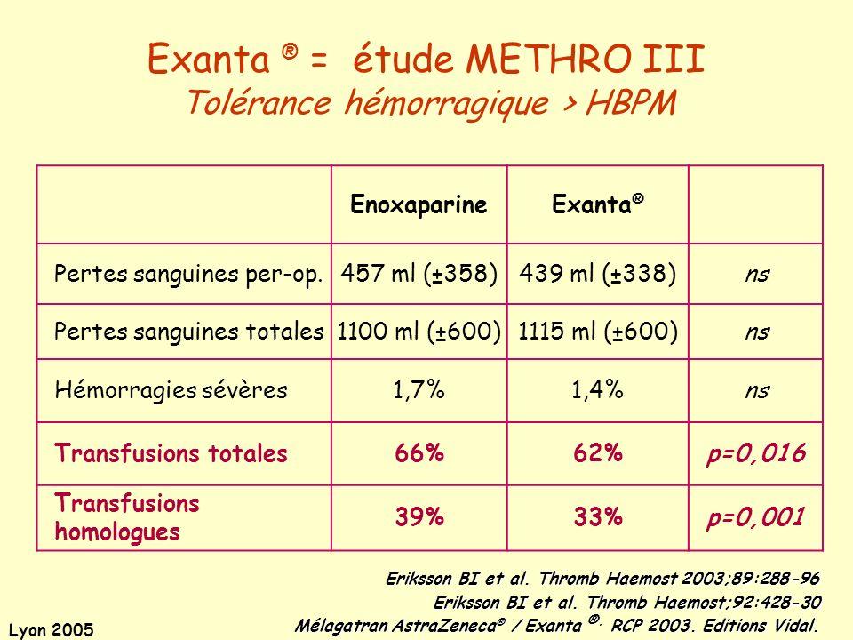 Exanta ® = étude METHRO III Tolérance hémorragique > HBPM