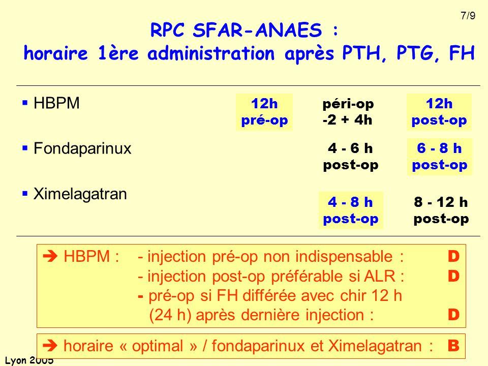 horaire 1ère administration après PTH, PTG, FH