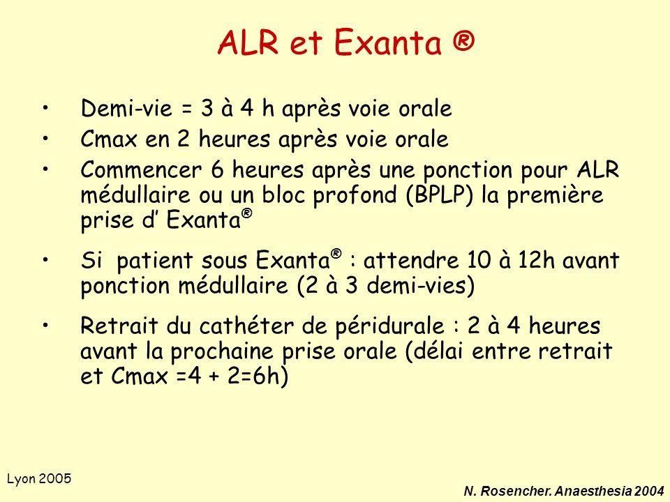 ALR et Exanta ® Demi-vie = 3 à 4 h après voie orale