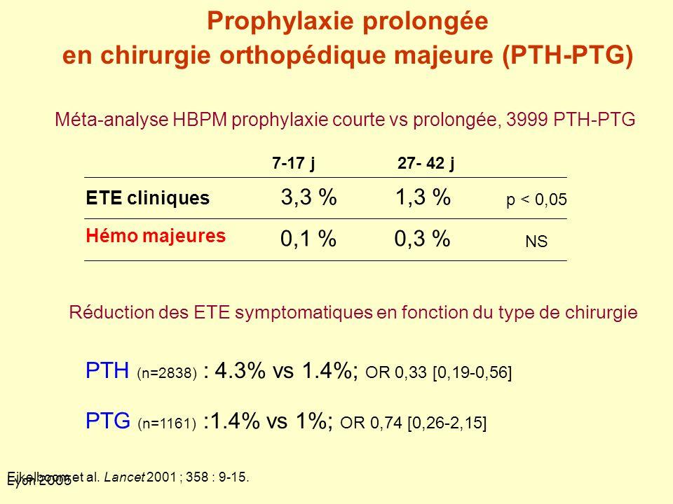 Prophylaxie prolongée en chirurgie orthopédique majeure (PTH-PTG)
