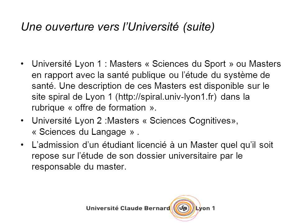 Une ouverture vers l'Université (suite)