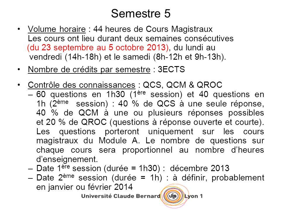 Semestre 5 Volume horaire : 44 heures de Cours Magistraux