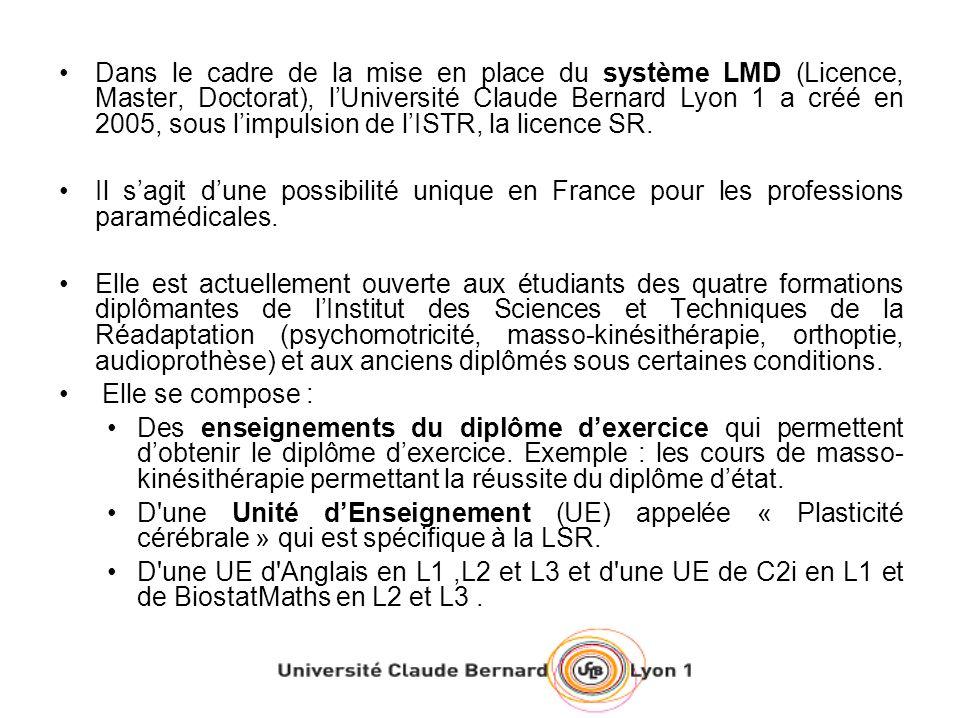Dans le cadre de la mise en place du système LMD (Licence, Master, Doctorat), l'Université Claude Bernard Lyon 1 a créé en 2005, sous l'impulsion de l'ISTR, la licence SR.