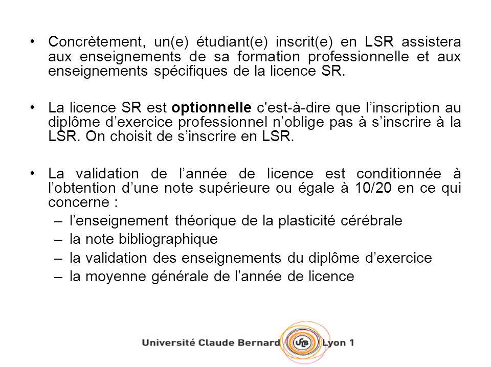 Concrètement, un(e) étudiant(e) inscrit(e) en LSR assistera aux enseignements de sa formation professionnelle et aux enseignements spécifiques de la licence SR.