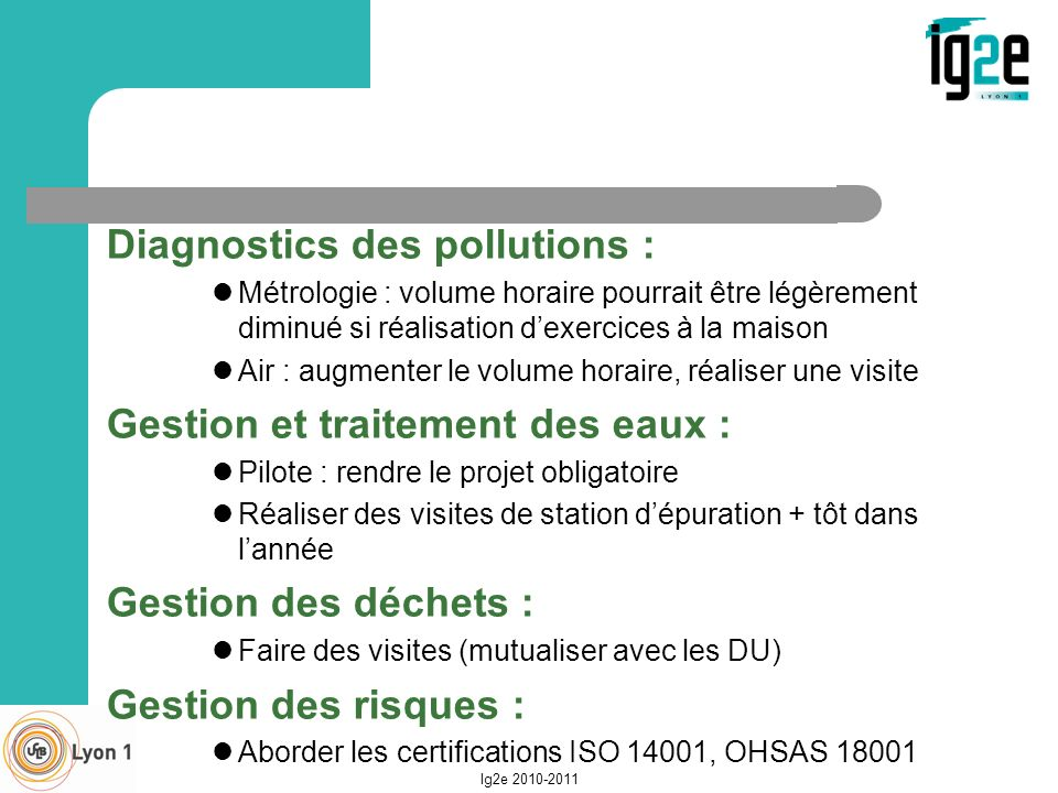 Diagnostics des pollutions :