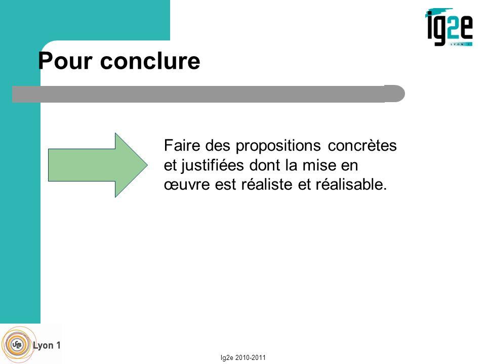 ig2e 2004-2005 27/03/2017. Pour conclure. Faire des propositions concrètes et justifiées dont la mise en œuvre est réaliste et réalisable.