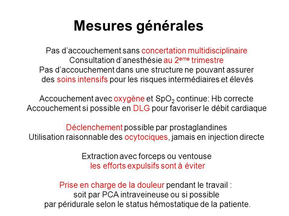 Mesures générales Pas d'accouchement sans concertation multidisciplinaire. Consultation d'anesthésie au 2eme trimestre.