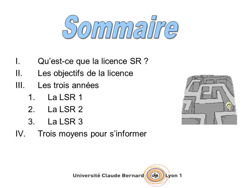 Sommaire Qu'est-ce que la licence SR Les objectifs de la licence