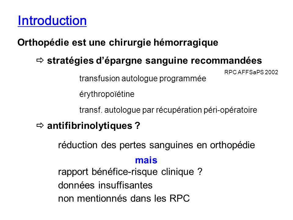 Introduction Orthopédie est une chirurgie hémorragique