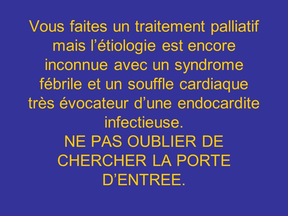 Vous faites un traitement palliatif mais l'étiologie est encore inconnue avec un syndrome fébrile et un souffle cardiaque très évocateur d'une endocardite infectieuse.