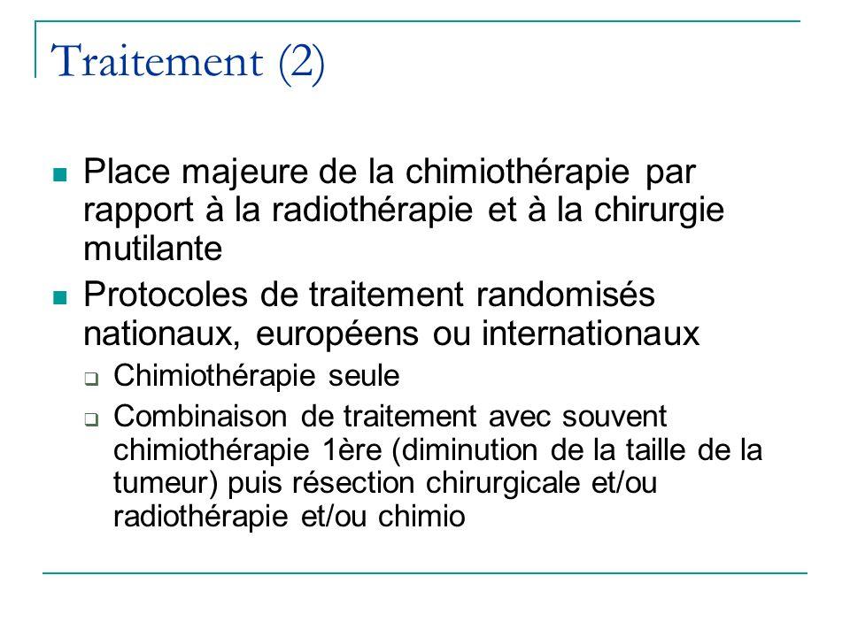 Traitement (2) Place majeure de la chimiothérapie par rapport à la radiothérapie et à la chirurgie mutilante.