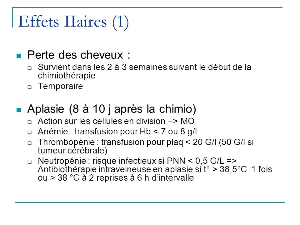 Effets IIaires (1) Perte des cheveux :