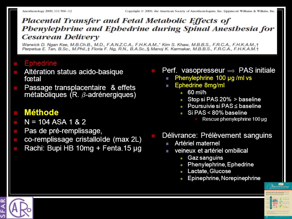 Méthode Ephedrine Altération status acido-basique fœtal