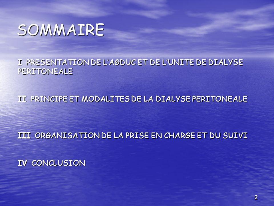 SOMMAIRE I PRESENTATION DE L'AGDUC ET DE L'UNITE DE DIALYSE